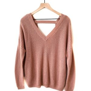 Knit Chunky Oversized Rose Nude Low Back Sweater
